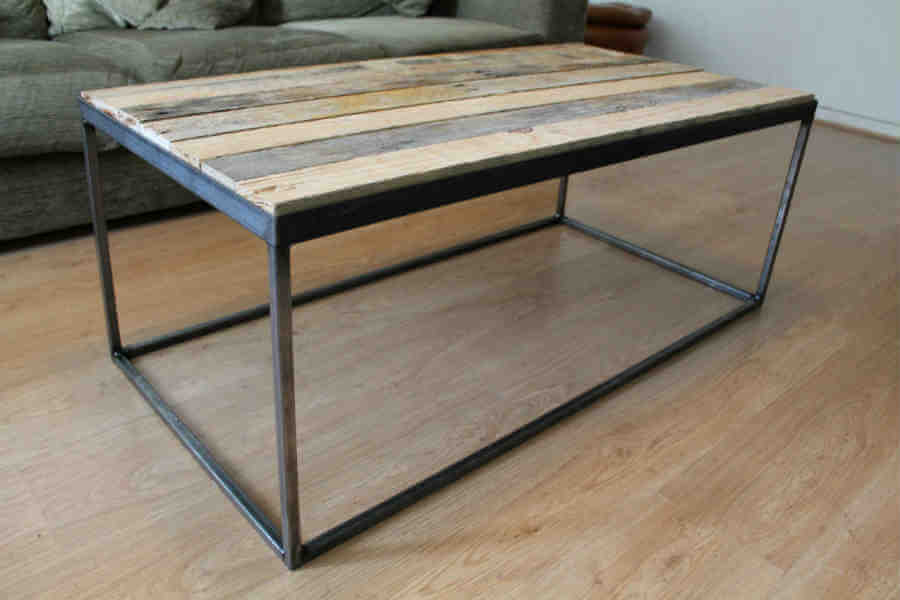 reclaimed timber steel coffee table. Black Bedroom Furniture Sets. Home Design Ideas