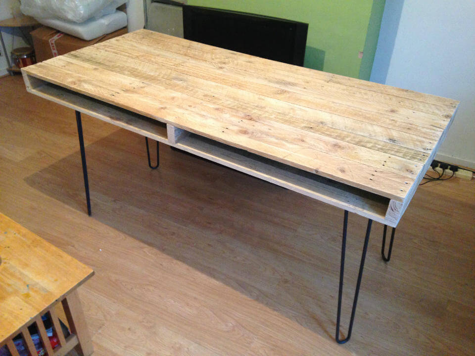 Long slim pallet dining table made from reclaimed pallet timber
