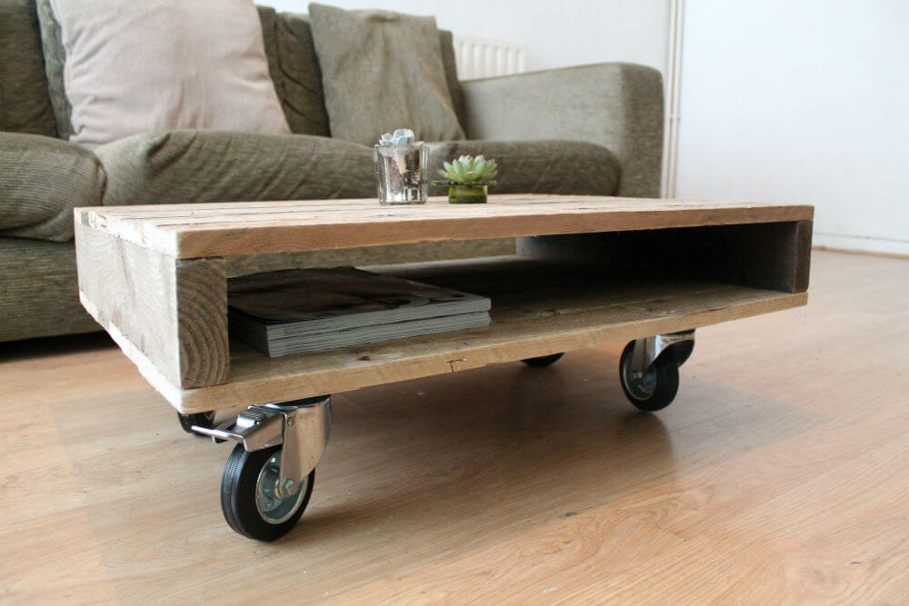 On Wheels Small Pallet Coffee Table