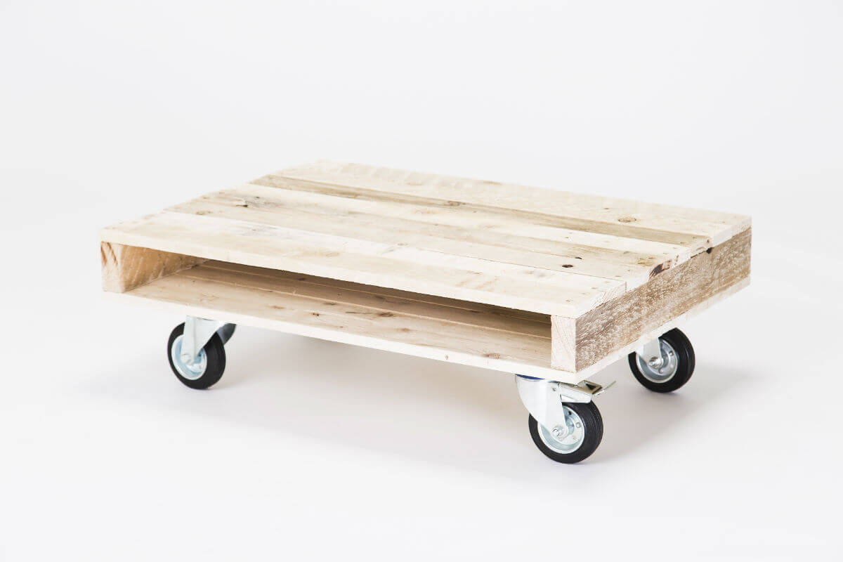 A Small Coffee Table On Wheels