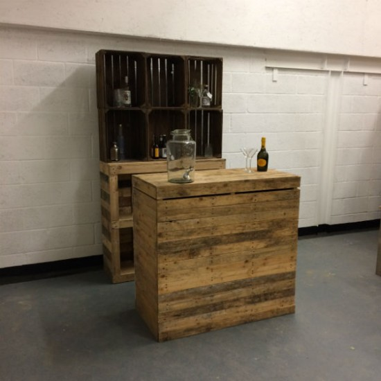 bar with crate shelving