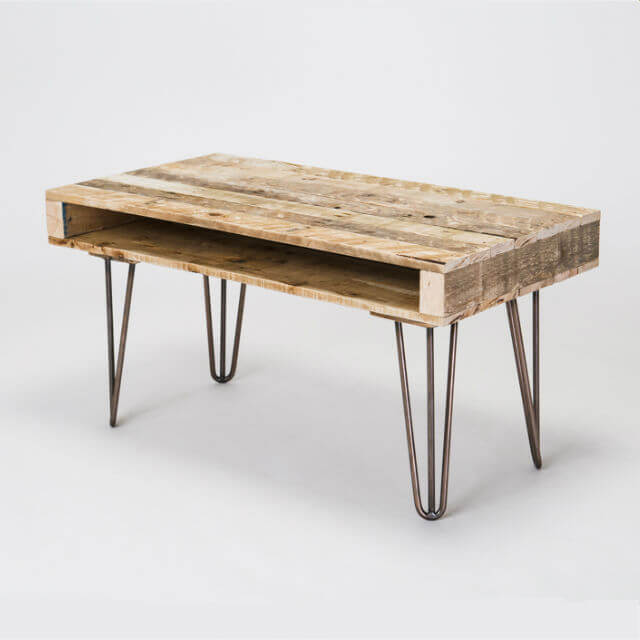 Round Wood Hairpin Coffee Table: Pallet Coffee Table