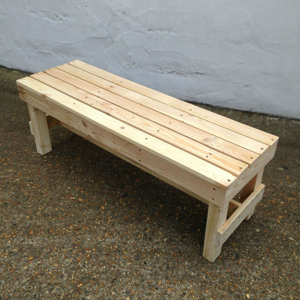 'Squared' Wooden Bench | Pallet Furniture