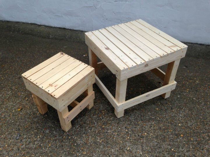 pallet stool; small garden table. u0027 & Squaredu0027 Small Wooden Stool | Pallet Furniture islam-shia.org
