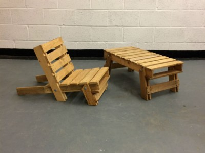 folding wooden chair and table