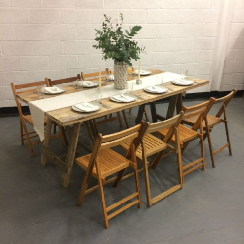 wooden chair and table hire