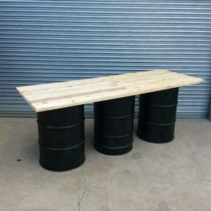 long oil drum table